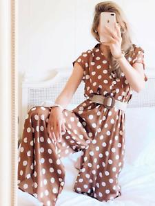 BNWT Zara Brown Polka Dot Wide Leg Dressy Jumpsuit XS L XL