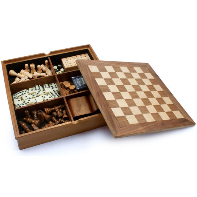 7-in-1 Chess/Checkers/Backgammon/Cribbage/Dominoes/Cards Board Game Combo  Set