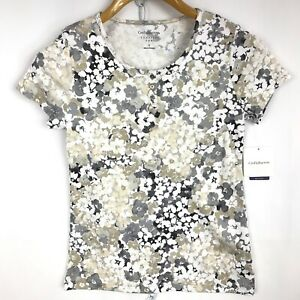 Croft-Barrow-Women-Shirt-T-Classic-Tee-Short-Sleeve-Floral-Print-Size-S-NEW