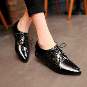 Womens-Date-Flat-Lace-Up-Casual-Shoes-Patent-Leather-Pointed-Toe-US-Plus-Size-SH