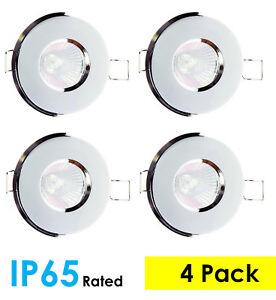 4-PACK-Polished-Chrome-IP65-Bathroom-Shower-GU10-LED-Ceiling-Spotlight-Downlight