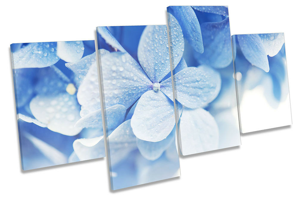 Blau Floral Leaves Framed MULTI CANVAS PRINT Wall Art