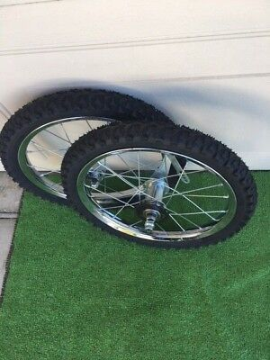 "16 X 175//2.125 BIKE WHEELS W// TIRES//TUBES MOUNTED 5//16/"" FRONT 3//8/"" REAR NEW"