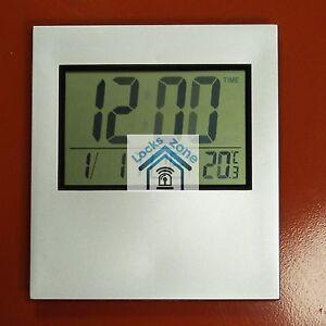Image Is Loading Silver Large Digital Kenko Clock Time Calender Temperature