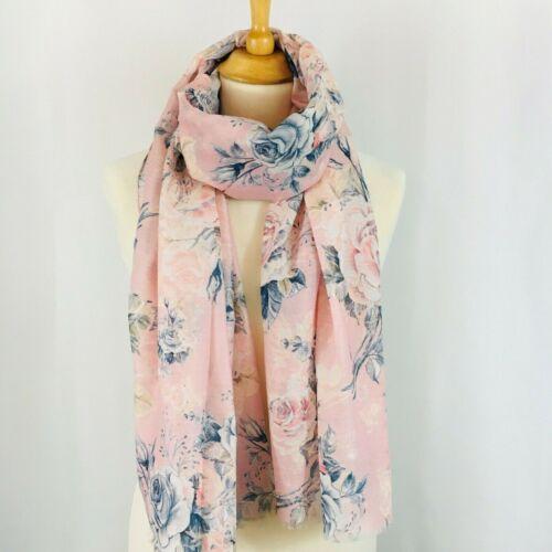 Beautiful Pale Pink Scarf Pashmina Pale Pink Dark Blue Country Floral Rose