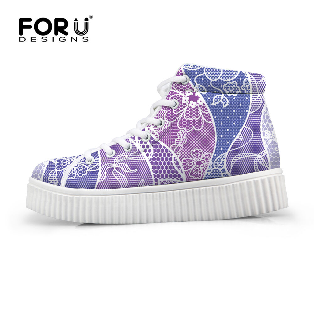 Woman High Platform Creepers shoes Womens High Top Sneakers Size 5 6 7 8 9 10 11