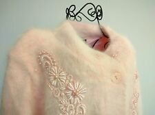 Lee Sands Angora Blend Pink Plus Button Front Cardigan