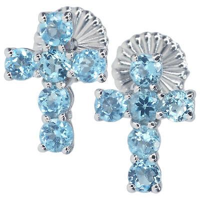 Swiss Blue Topaz Gemstone Cross Design Stud 10mm by 8mm Sterling Silver Earrings