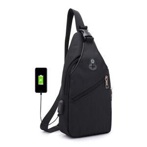 USB-Charging-Chest-bag-Men-039-s-Shoulder-Sling-Pack-Anti-theft-Crossbody-Handbag