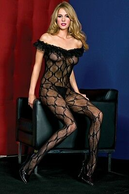 Crotchless Off The Shoulder BOW LACE Bodystocking BLACK PLUS