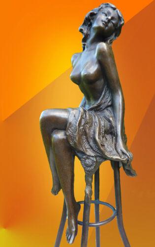 BRONZE Michelle SIGNED BRONZE STATUE FIGURE FIGURINE NAKED STATUETTE ART DECO