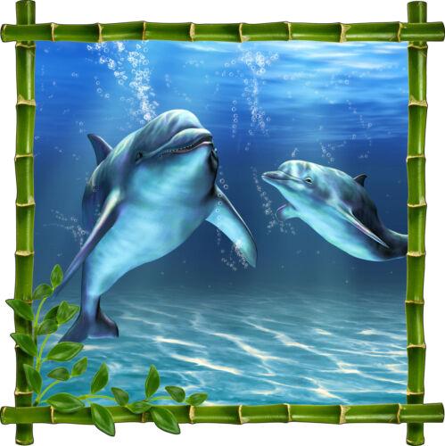 Sticker mural déco bambou Dauphins réf 905