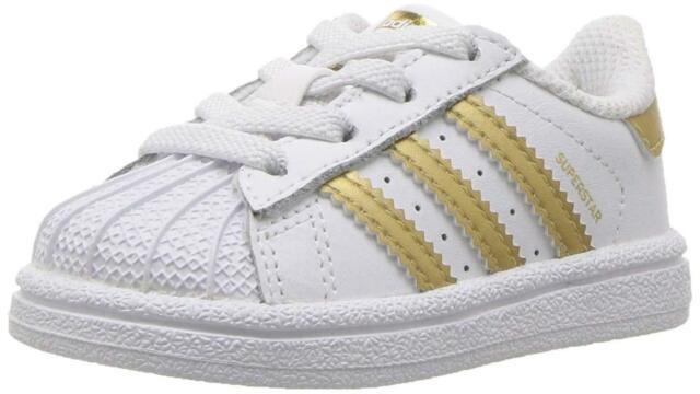 adidas Originals Baby Superstar I White/gold MET 9 M US Toddler