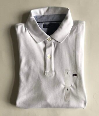 Tommy Hilfiger white MEN Custom FIT Block POLO SHIRT size M L NWT father/'s Day