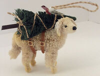 Pottery Barn Bottle Brush Yellow Lab Dog With Christmas Tree Ornament W/tag