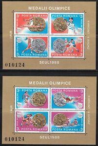 Romania-1988-MNH-Mi-Blocks-250-251-Sc-3537-3538-a-d-Seoul-Olympic-Games-Medals