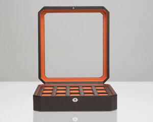 WOLF-Windsor-15-Piece-Watch-Box-Brown-Orange-Storage-Case-458506