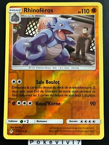 Carte-Pokemon-RHINOFEROS-94-214-REVERSE-Soleil-et-Lune-10-SL10-FR-NEUF