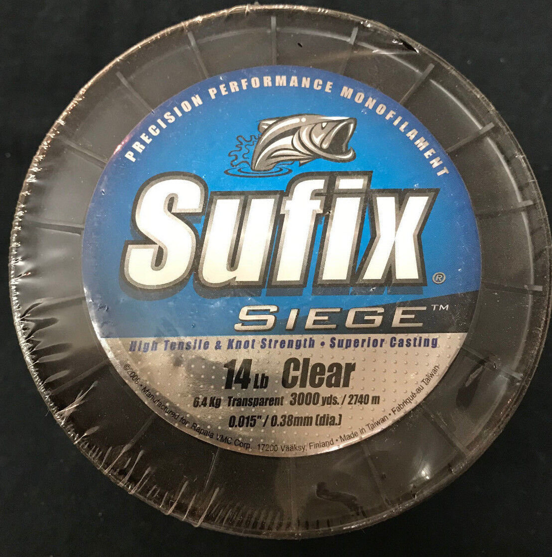 Sufix Siege  Fishing Line - Mono - 14 Lb Clear  - 3000 Yards  free shipping on all orders