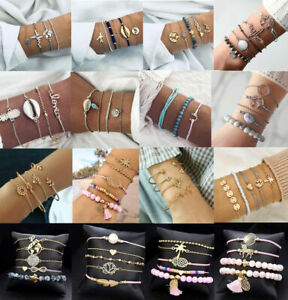 Women-Fashion-Jewelry-Set-Rope-Natural-Stone-Crystal-Chain-Alloy-Bracelets-Gift