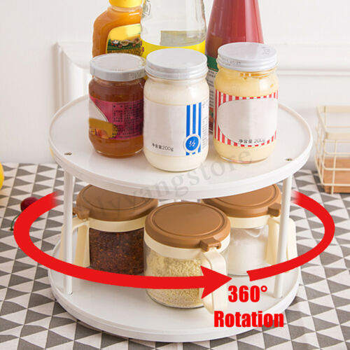 Kitchen 2-Tier Stainless Steel Spices Fruit Rotating Tray Turntable