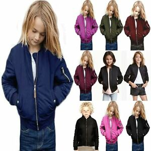 Boys-Girls-Kids-MA1-Quilted-Plain-Front-Button-Pockets-Bomber-Zipped-Up-Jacket