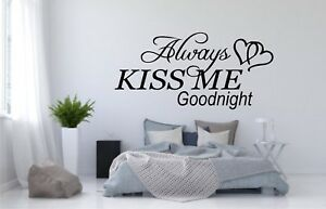 ALWAYS-KISS-ME-GOODNIGHT-WORDS-HOME-VINYL-DECAL-WALL-LETTERING-select-size