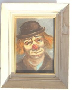 Vintage J LUGO Acrylic Signed Painting HOBO Clown 13 5