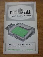 09/11/1963 PORT VALE V Barnsley (iscritto sulla parte anteriore)