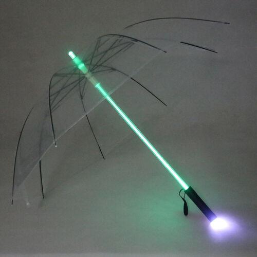 LED Flashlight Umbrella for Night Protection Amusement Transparent L6C0