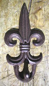 3 Cast Iron Antique Style Rustic Fleur De Lis Coat Hooks Hat Hook Rack Towel