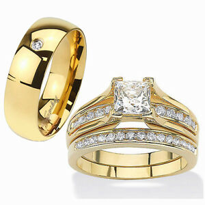 his hers piece k gold plated stainless steel cz