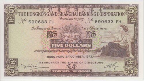 EF light counting machine marks Hong Kong Banknote P181f 5 Dollars 1973 HSBC