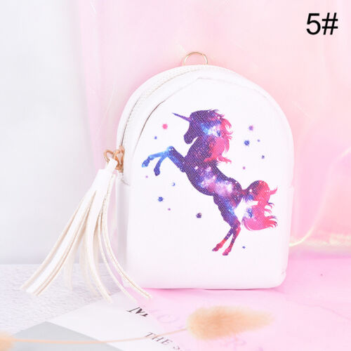 unicorn coin purse pouch mini backpack bag pu leather keychain pouch wallets9UK