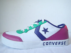 CONVERSE ALL STAR FAST BREAK 2 OX 114997PELLE BIANCHE WHITE LEATHER BASSE FUCSIA
