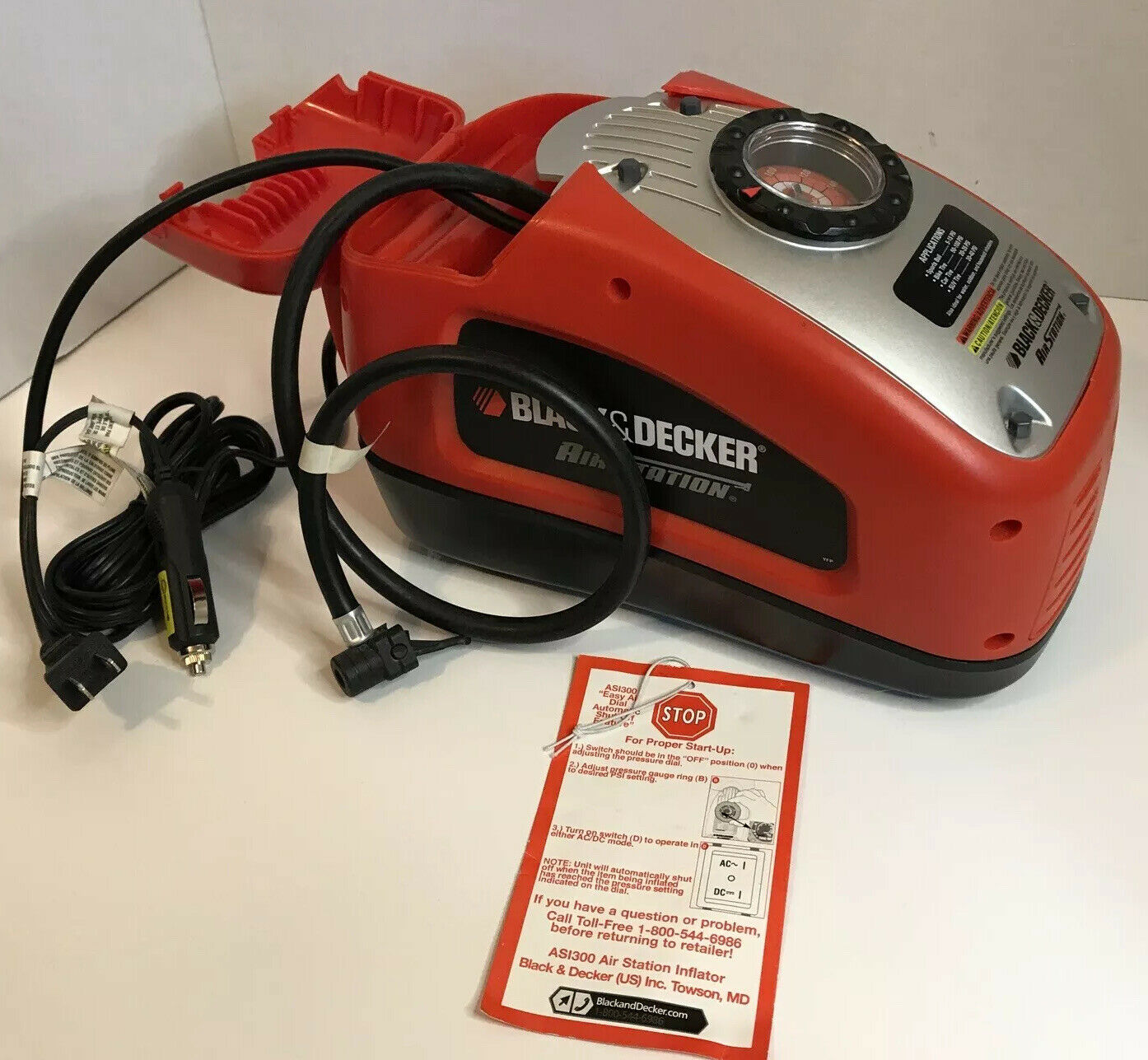 ASI300 midwest_pickers Black & Decker AS1300 Air Station 120 or 12 Volt Inflator Pump Auto Shut Off