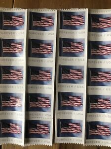 ONE BOOK OF 20 USPS FIRST CLASS FOREVER POSTAGE STAMPS Flags