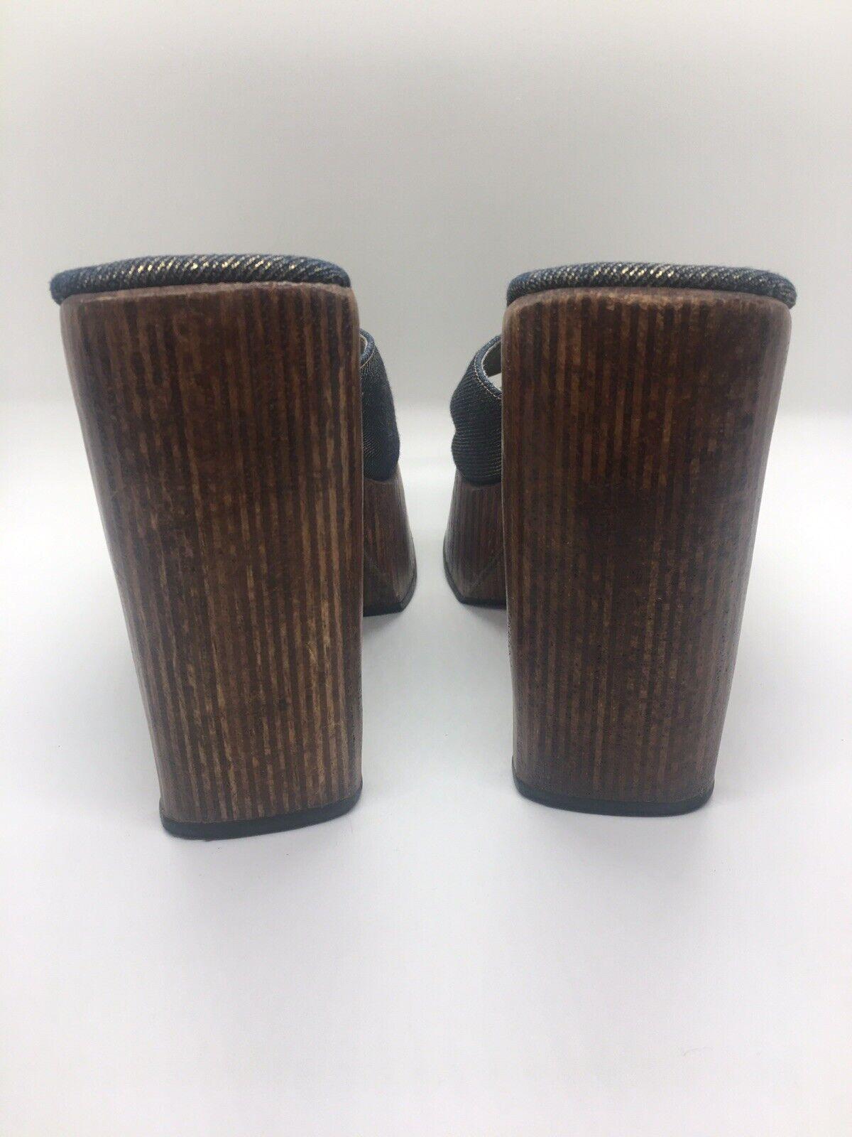 CANDIE'S Vintage 1990's Denim Platform Block Heel… - image 5