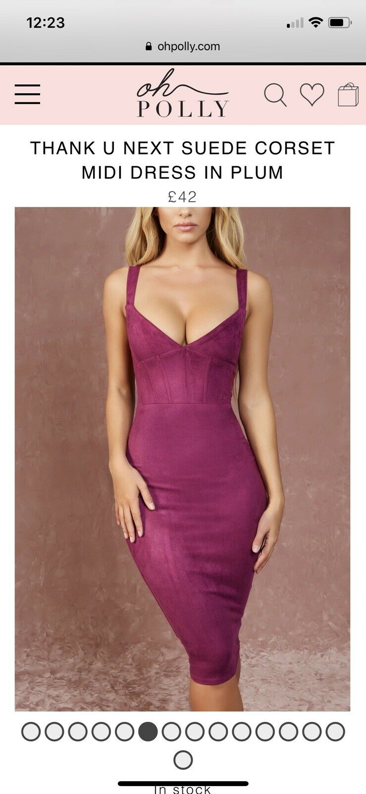 Oh Polly Suede Corset Midi Dress
