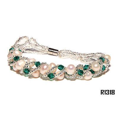Echt Süßwasser Zucht Perlenkette Armband Armkette 180mm Magnetverschluß R1318