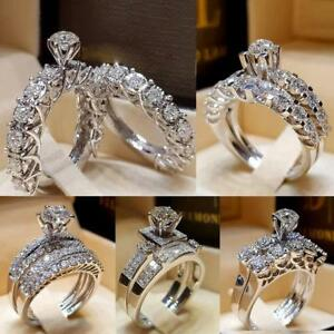 2018-Chic-Women-White-Sapphire-Silver-Ring-Set-Wedding-Engagement-Rings-Jewelry