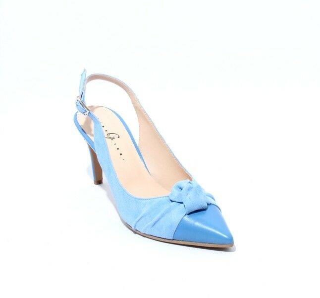Gibellieri 08a bluee Suede Leather Pointy Slingback Heel Sandals 40   US 10