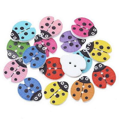 100PCs Mixed Wooden Buttons Fits Sewing Scrapbooking  Ladybird 23mm