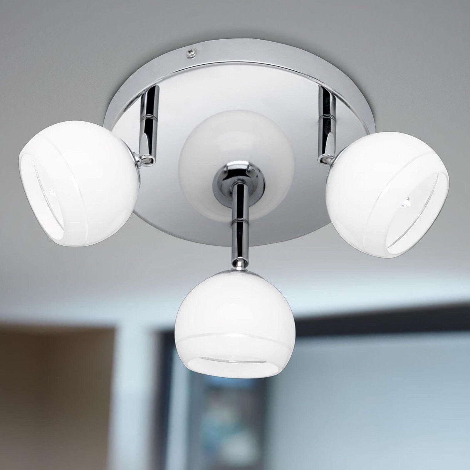 Wofi Lampada da soffitto Valley 3-flg cromo vetro bianco regolabile 99 Watt 1380 Lumen