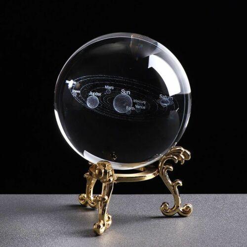 Laser Engraved Solar System Ball 3D Miniature Planets Sphere Glass Globe Decor