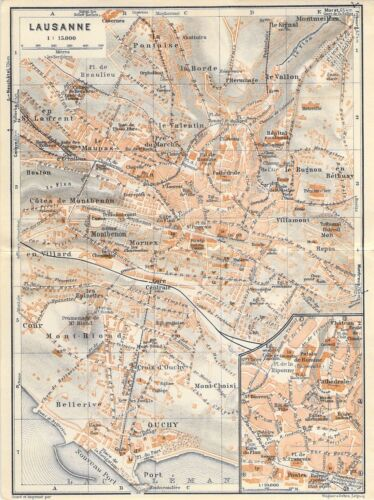 Lausanne Schweiz um 1930 historische alte Landkarte Stadtplan map