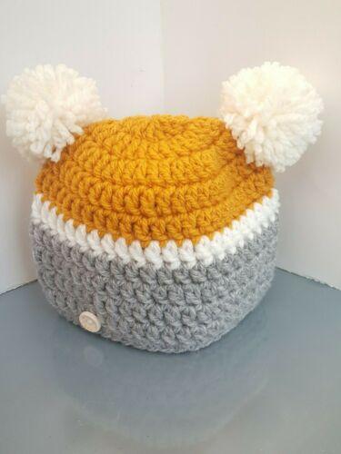 **New Handmade crochet baby girl boy pompom hat matching adult /& newborn 7years