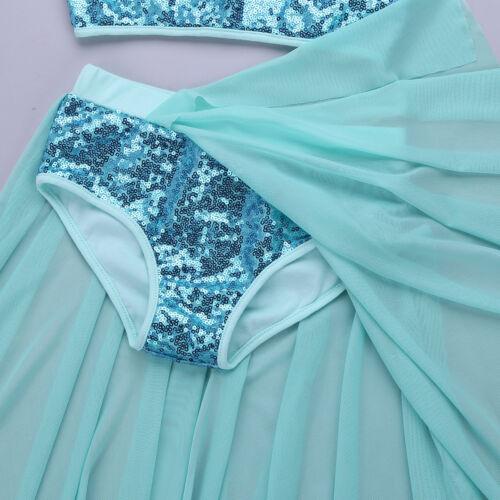 Girl Sequin Lyrical Ballet Dance Dress Kids Leotard Tutu Dancewear Latin Costume
