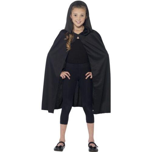 Kapuzenumhang für Kinder Mittelalter Umhang mit Kapuze schwarz Zauberumhang