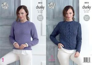 005ae81bd King Cole 5015 Knitting Pattern Womens Plain and Cabled Sweaters ...